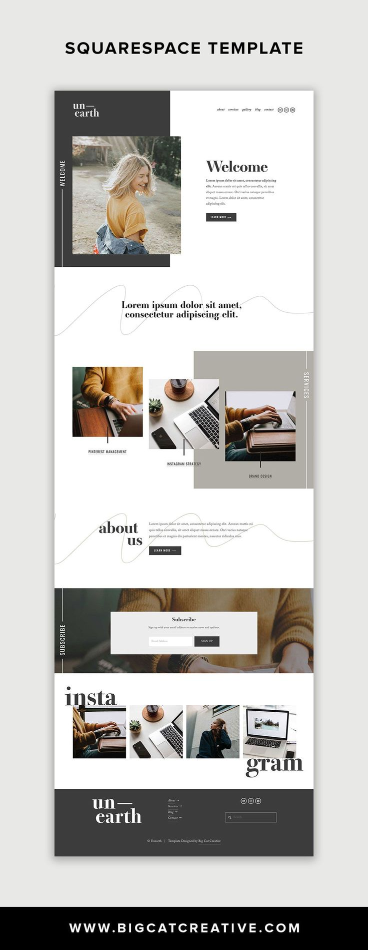 Unearth Squarespace Template is a modern and artistic website template that is p...